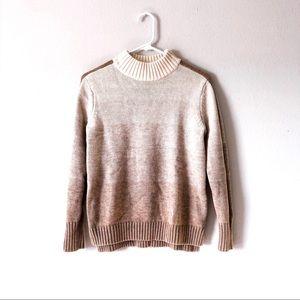 ATHLETA mock neck tan ombre sweater with stripe